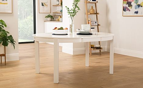 Marlborough Round White Extending Dining Table 120-160cm