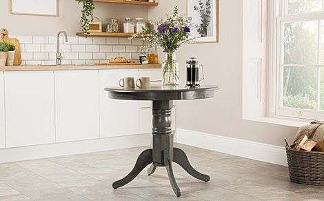 Kingston Round Grey Wood 90cm Dining Table