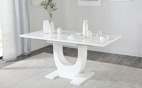Oslo White High Gloss 120-160cm Extending Dining Table