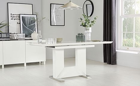 Florence White High Gloss Extending Dining Table - 120-160cm