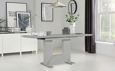 Florence Light Grey High Gloss 120-160cm Extending Dining Table