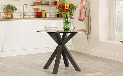 Hatton Round Grey Wood and Glass Dining Table 100cm