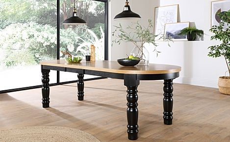 Manor Oval Painted Black and Oak 200-240cm Extending Dining Table