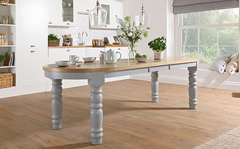 Manor Oval Painted Grey and Oak 200-240cm Extending Dining Table