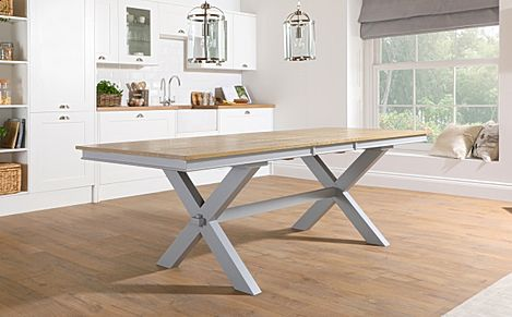 Grange Painted Grey and Oak 180-220cm Extending Dining Table