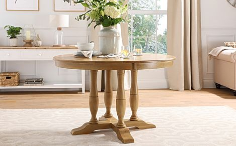Highgrove Round Oak Wood 120cm Dining Table