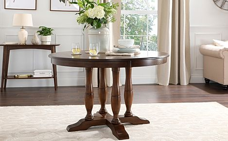 Highgrove Round Dark Wood 120cm Dining Table