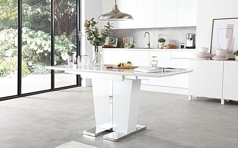 Vienna White High Gloss Extending Dining Table 120-160cm