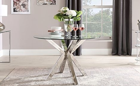 Plaza Round Chrome and Glass 110cm Dining Table