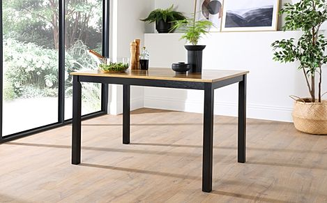 Milton Painted Black and Oak 120cm Dining Table