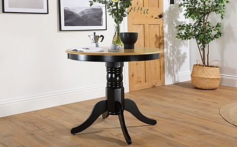 Kingston Round Painted Black and Oak Dining Table 90cm