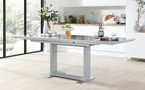 Tokyo Light Grey High Gloss 160-220cm Extending Dining Table