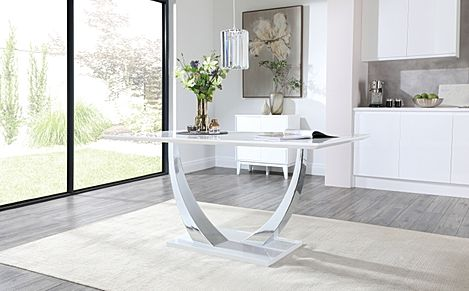 Peake White High Gloss & Chrome 160cm Dining Table