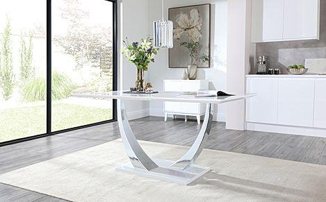 Peake White High Gloss & Chrome 160cm Dining Table