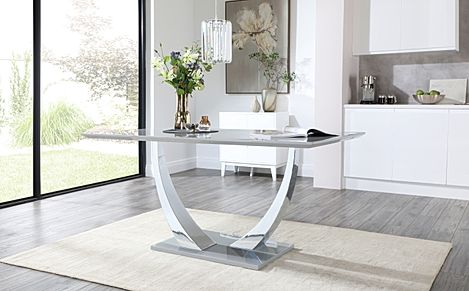 Peake Grey High Gloss and Chrome 160cm Dining Table
