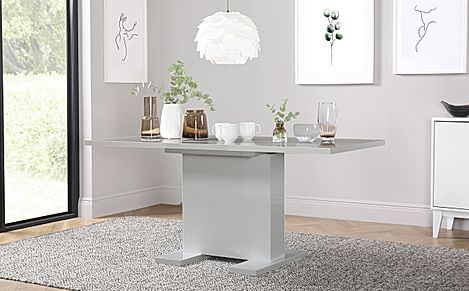 Osaka Light Grey High Gloss 120-160cm Extending Dining Table