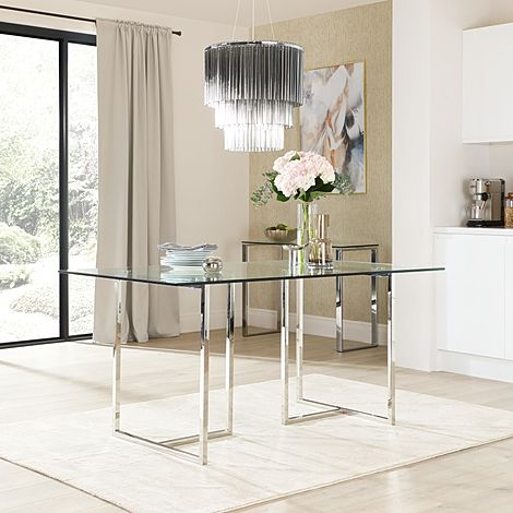 Lisbon Chrome and Glass 160cm Dining Table