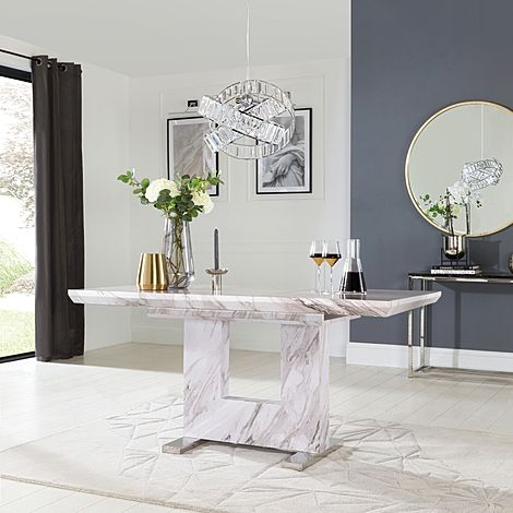 Florence Grey Marble 120-160cm Extending Dining Table