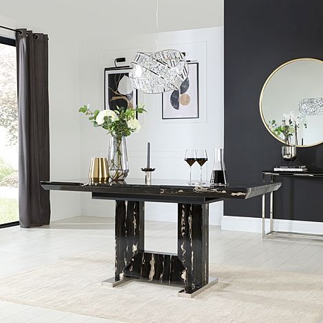 Florence Black Marble 120-160cm Extending Dining Table