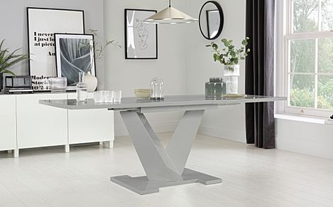 Turin Grey High Gloss 160-200cm Extending Dining Table