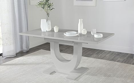 Oslo Grey High Gloss 120-160cm Extending Dining Table