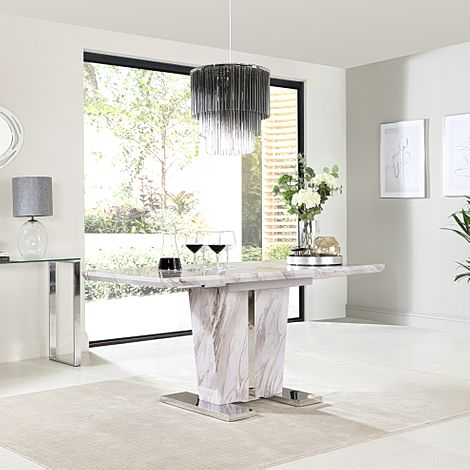 Vienna Grey Marble 120-160cm Extending Dining Table