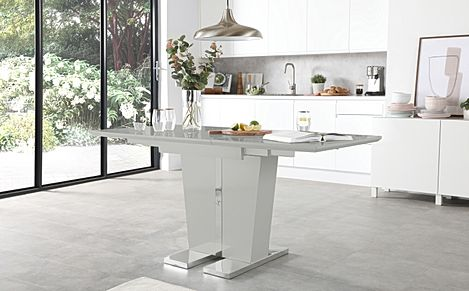 Vienna Light Grey High Gloss 120-160cm Extending Dining Table