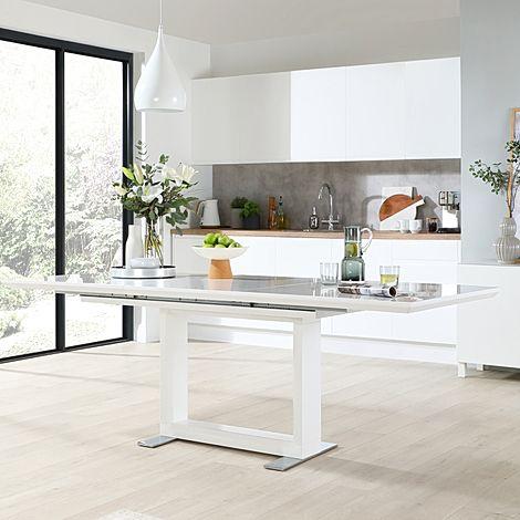 Tokyo White High Gloss 160-220cm Extending Dining Table