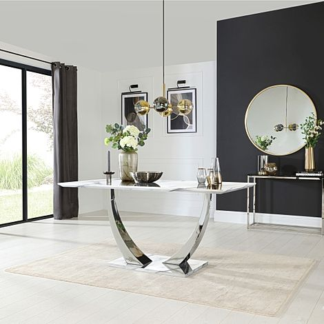 Peake White Marble and Chrome 160cm Dining Table