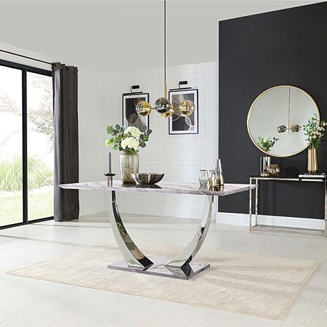 Peake Grey Marble and Chrome 160cm Dining Table