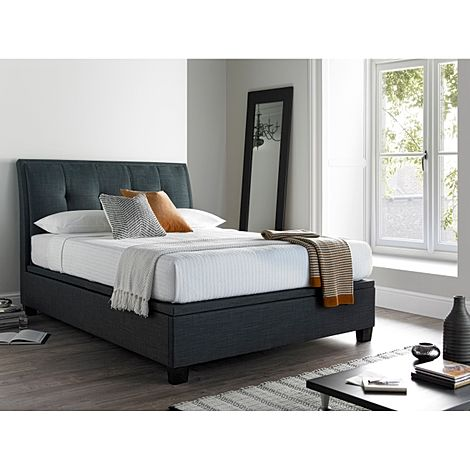 Kaydian Accent Ottoman Storage Bed - Super King Size - Slate Fabric