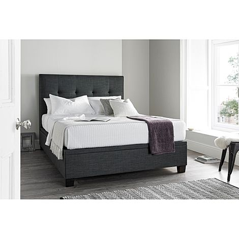 Kaydian Walkworth Slate Fabric Ottoman King Size Bed