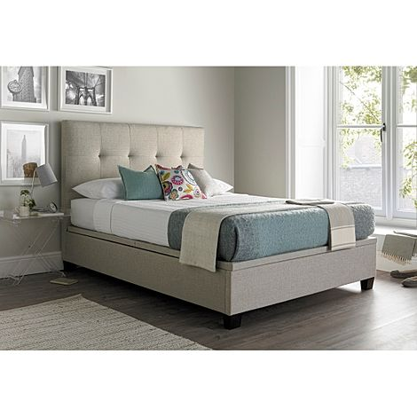 Kaydian Walkworth Ottoman Storage Bed - King Size - Oatmeal Fabric