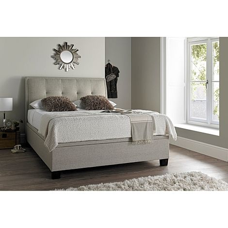 Kaydian Accent Oatmeal Fabric Ottoman Super King Size Bed