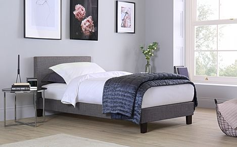 Berlin Grey Fabric Single Bed
