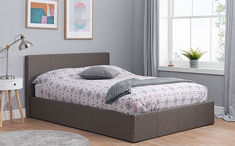 Berlin Grey Fabric Small Double Ottoman Bed