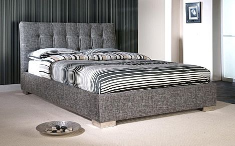 Ophelia Grey Fabric Double Bed