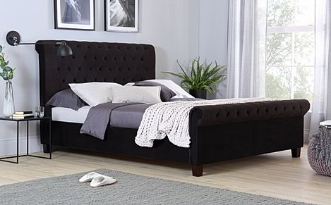 Orbit Black Velvet Super King Size Bed
