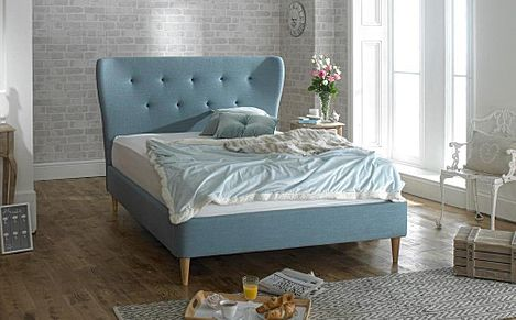 Aurora Blue Fabric King Size Bed