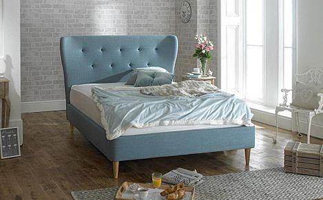 Aurora Blue Fabric Super King Size Bed