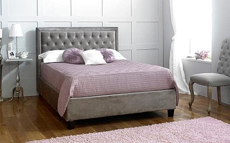 Rhea Grey Fabric King Size Bed