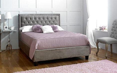 Rhea Grey Fabric King Size Bed