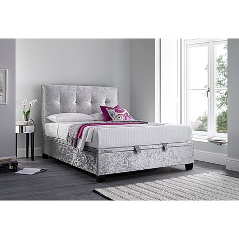 Kaydian Walkworth Silver Fabric Ottoman King Size Bed
