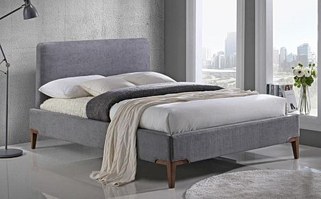 Andromeda Grey Fabric King Size Bed