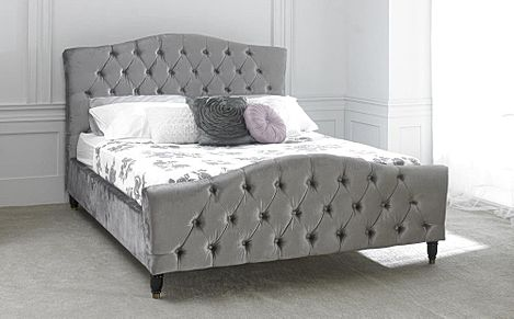 Phobos Silver Fabric Double Bed