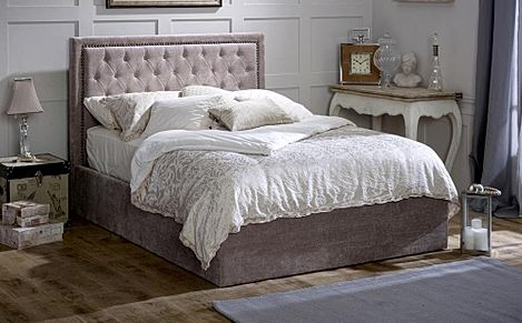Rhea Mink Ottoman Storage Fabric Double Bed
