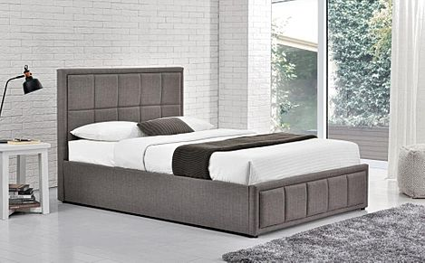 Hannover Grey Fabric Small Double Ottoman Bed