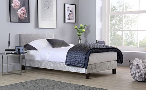 Berlin Silver Crushed Velvet Single Bed