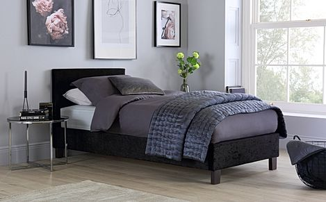 Berlin Black Crushed Velvet Single Bed