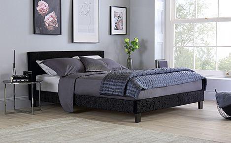 Berlin Black Crushed Velvet Small Double Bed